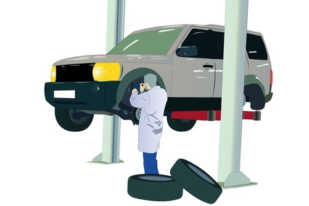 Vector illustration of car at the service center Vector