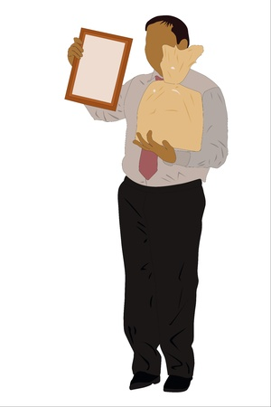 Vector illustration of businessman with a prise in his hands Stock Vector - 9180664
