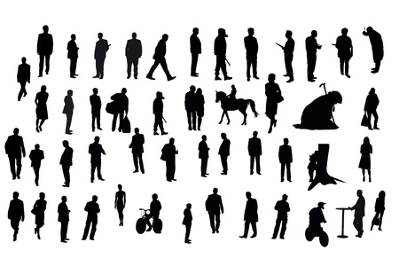 Vector silhouettes of different people under the white background