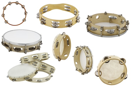 The image of different tambourines under the white background photo