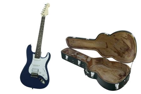 guitar case: La imagen de guitarra azul y caso de guitarra