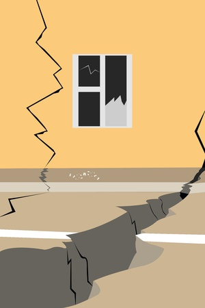 broken window: Vector illustration of street after an earthquake Illustration