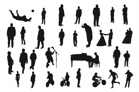 Vector silhouettes of different people under the white background Vector