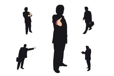 handclasp: Vector counters of different businessmen Illustration