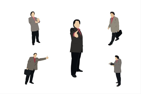 handclasp: Vector illustration of different businessmen under the white background