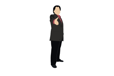 politeness: Vector illustration of businessman holds out his hand
