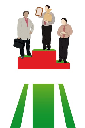 Vector illustration of businessmen stand on a podium Vector