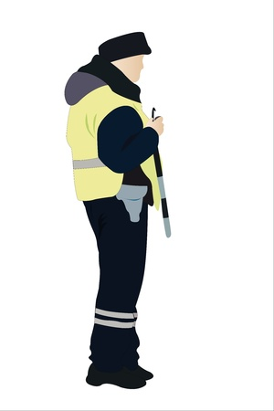 holster: Vector illustration of traffic-controller under the white background