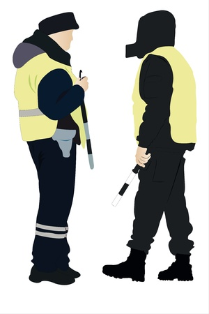 security officer: Vector illustration of policeman and security officer Illustration
