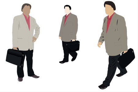 handclasp: Vector illustration of man with a bag in three different viewpoints