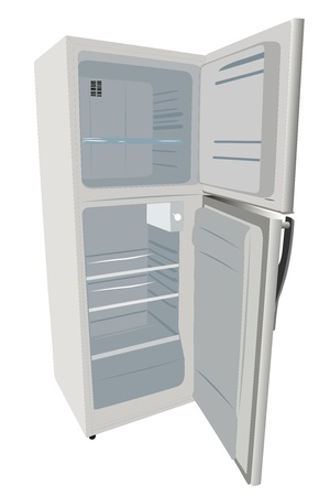 vector illustration of refrigerator under the white background Vector