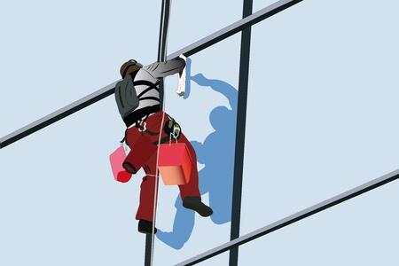 Illustrazione vettoriale di fasade del grattacielo di steeplejack washs