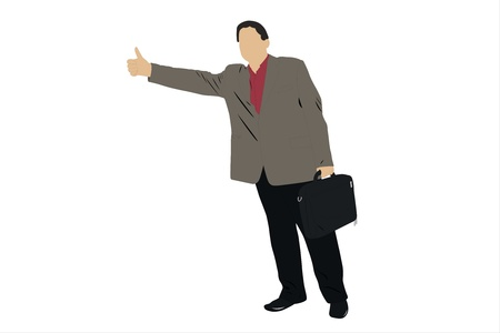 Vector illustration of businessman thumbs a lift Stock Illustration - 9458552