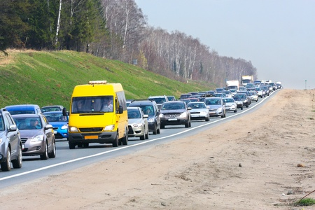 The image of a traffic jam on a highway photo