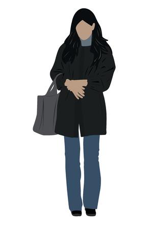 frock coat: Vector illustration of girl with a bag Illustration