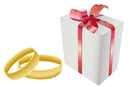 Vector illustration of wedding rings and the present box Stock Vector - 9458741