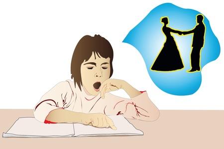 Vector illustration of girl has a romantic dreams Vector Illustration
