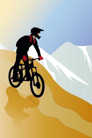 neve montagne: illustrazione vettoriale del ciclista sulla strada montagna