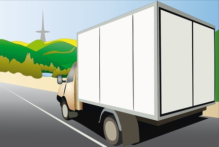 moving van: ector illustration of van drives down the country road