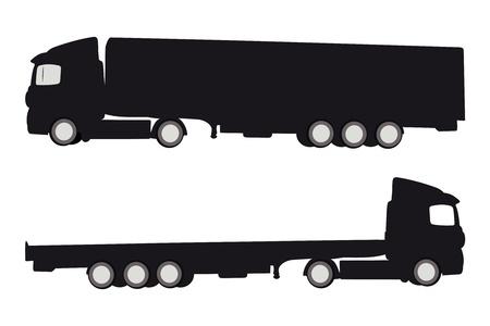 Illustration vectorielle de deux camions silluettes Vecteurs