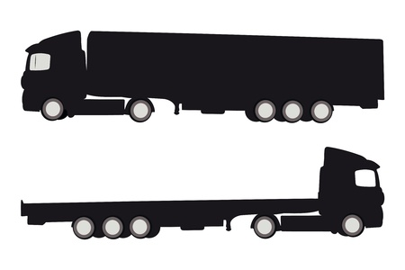 Vector illustration of two trucks silluettes