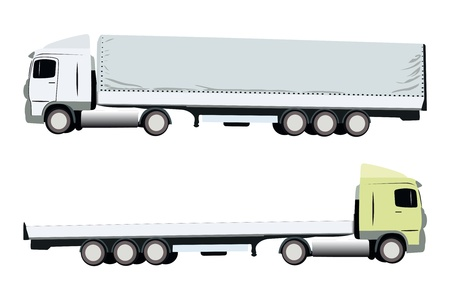 big truck: vector illustration of two trucks isolated under the white background