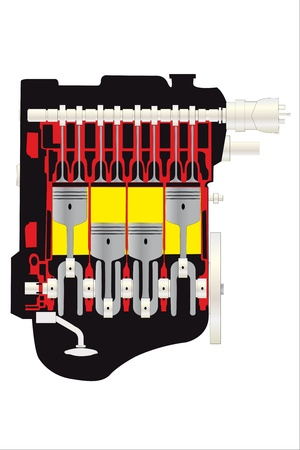 vector illustration of car motor inside view tutorial Vector