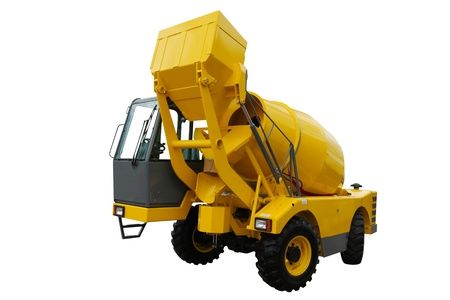 The image of a concrete mixing machine under the white background photo