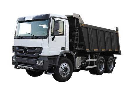 durty: Dump-body truck under the white background