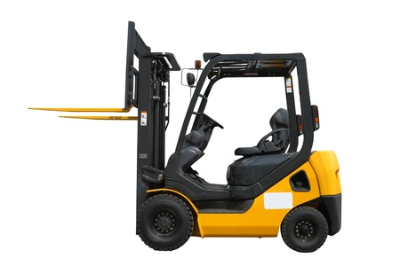 forklift truck: The image of loader under the white background