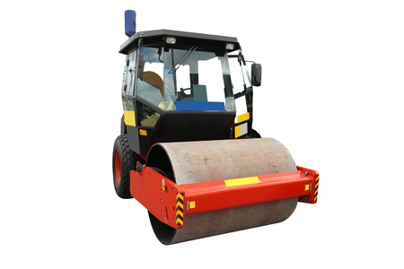 The image of road roller under the white background photo