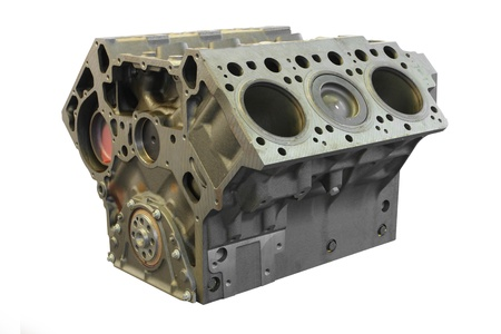 truck engine: The image of a cylinder block under the white background