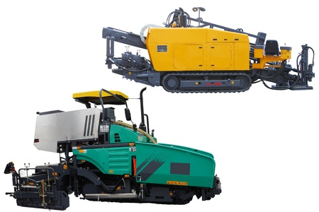 asphalt spreading machines under the white background photo