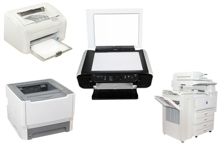 scan paper: The image of printers under the white background Stock Photo