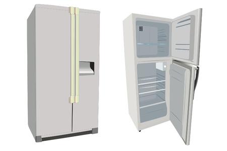 The illustrations of refrigerators under the white background Stock Illustration - 10455961