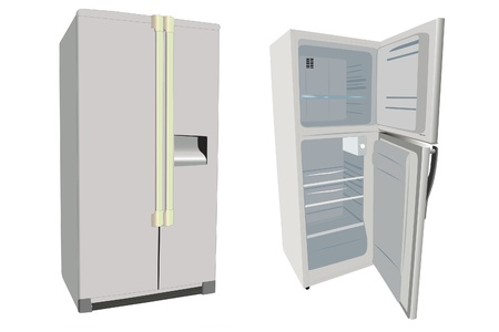 The illustrations of refrigerators under the white background Stock Illustration - 10455961