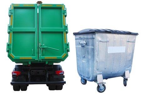 The image of refuse bin and the truck under the white background photo
