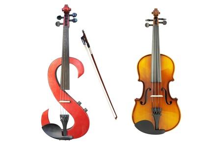 fiddlestick:  el�ctrica viol�n, viol�n y un fiddlestick en el fondo blanco