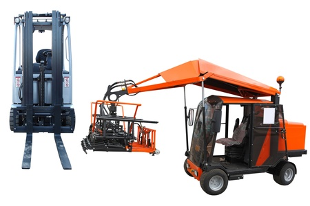 front raise: loader and forklift under the white background