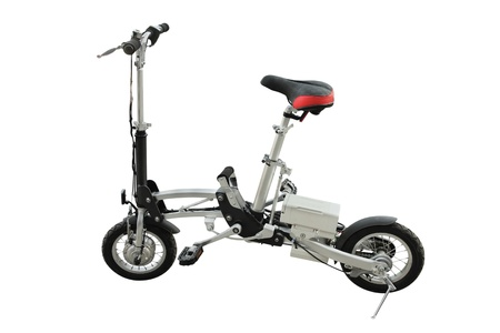 bicycle pedal: The image of electric folding bicycle under the white background
