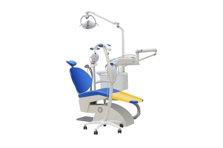 medical lighting: The image of dental chair under the white background