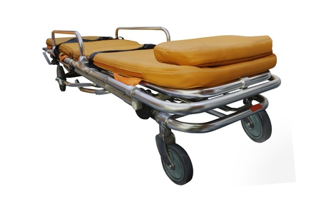 acute care: The image of stretcher under the white background. Focus is under front part of stretcher