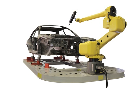factory automation: The image of welding  robot welds the car body
