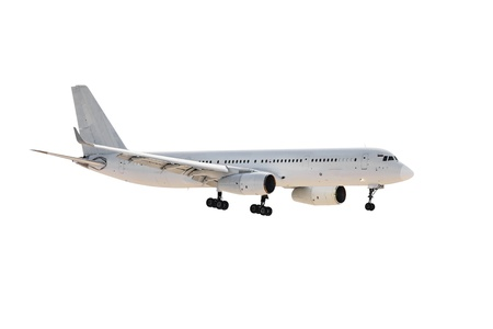 The image of an airplane under the white background photo