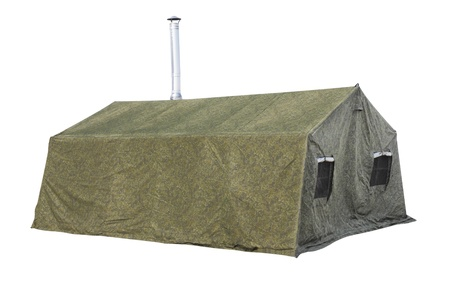 The image of milittary tent under the white background photo