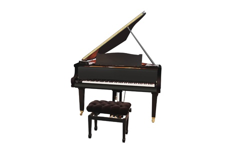 The image of grand piano under the white background photo