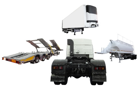 semitrailer: The image of tractor and different kinds of semitrailers