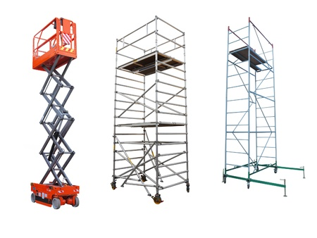 scaffold: The image of scaffolds and lift under the white background