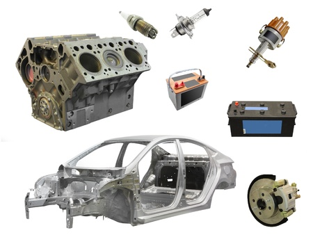 The image of different car spare parts photo