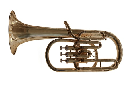 The image of trumpet under the white background photo